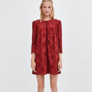 ZARA NWOT EMBROIDERED DRESS WITH POMPOMS S